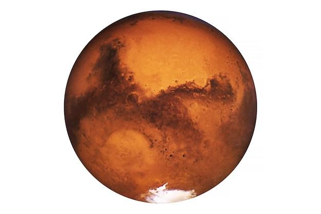 Planeta marte isolado no fundo branco os elementos desta imagem foram fornecidos pela nasa