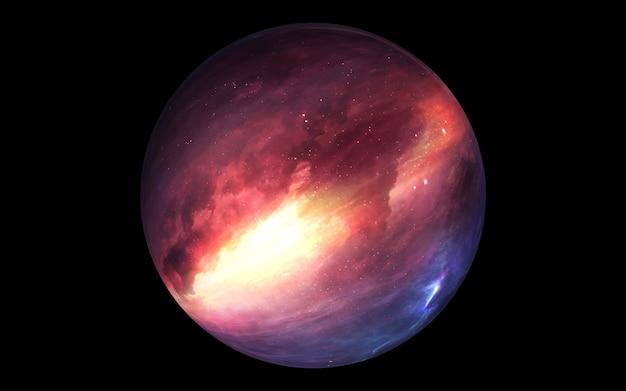 Planeta misterioso no espaço, satélite de uma estrela. planeta super-terrestre, exoplaneta realista adequado para colonização, planeta semelhante à terra no espaço distante, renderização 3d