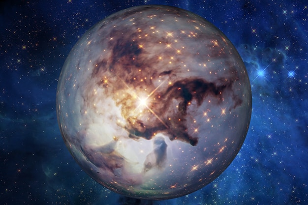 Planeta no espaço, satélite de uma estrela. planeta super-terrestre, exoplaneta realista adequado para colonização, planeta semelhante à terra no espaço distante, renderização 3d