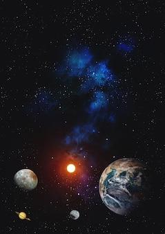 Planeta no fundo galáxias e estrelas luminosas