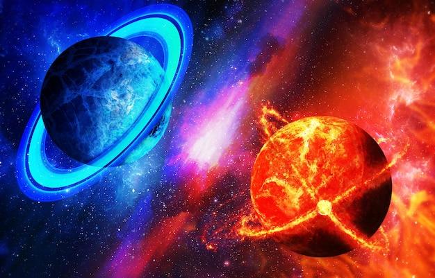 Planeta quente e frio, oposição de planetas. espaço com planetas, o conceito de diversidade espacial, planetas, galáxias.