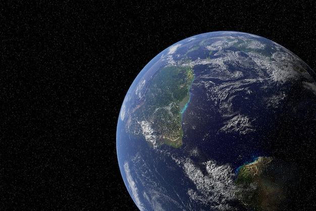 Planeta terra altamente detalhado na galáxia