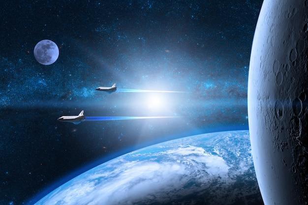 Planeta terra azul com ônibus espaciais decolando em missão
