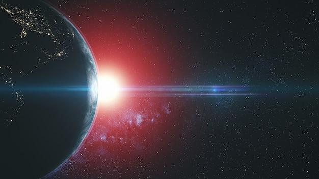 Planeta terra círculo flare redondo sun beam brilho. galáxia estrelada asteróide celestial visão de satélite do espaço exterior profundo. universo travel concept 3d animation