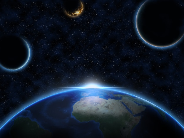 Planeta terra e duas luas alienígenas com o nascer do sol no espaço
