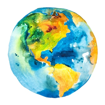Planeta terra. globo. vista da américa do sul e do norte.