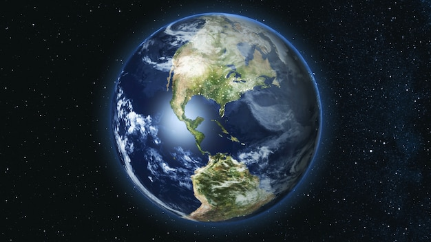 Planeta terra realista contra o céu estrela