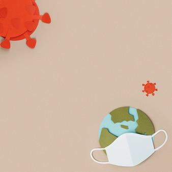 Planeta terra usando uma máscara facial de papel artesanal durante a pandemia do coronavírus