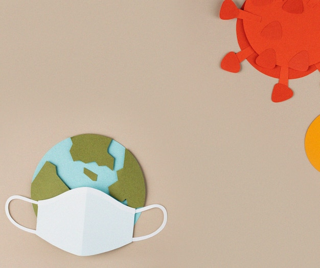 Planeta terra usando uma máscara facial durante a pandemia de coronavírus