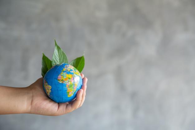 Planeta verde em suas mãos. salve a terra.