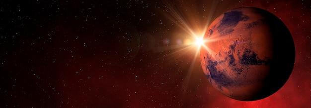 Planeta vermelho marte com raios de sol no céu estrelado 3dilustração