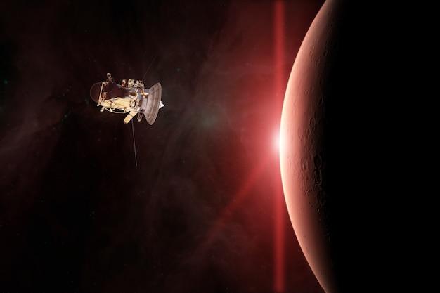 Planeta vermelho marte e nave espacial são lançados ao espaço