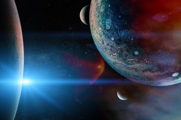 Planetas alienígenas no espaço sideral