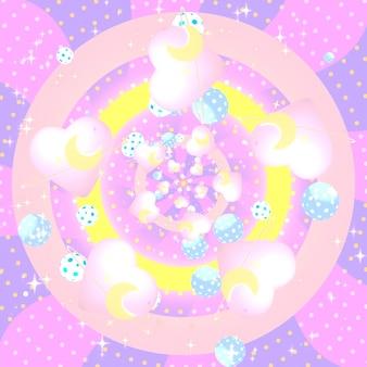 Planetas com coração rosa, luas crescentes amarelas, diamantes brilhantes e bolinhas com padrão de fundo de esferas