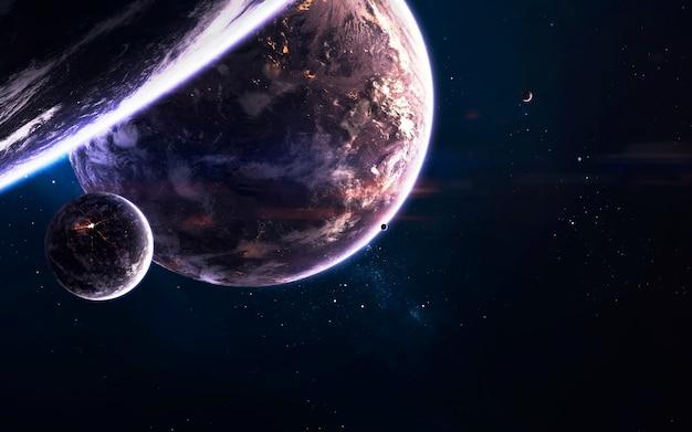 Planetas do espaço profundo, papel de parede de ficção científica incrível, paisagem cósmica. elementos desta imagem fornecidos pela nasa
