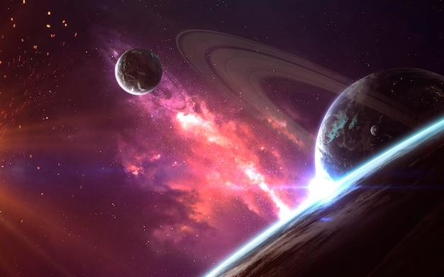 Planetas e nuvens de poeira estelar. imagem do espaço profundo, fantasia de ficção científica em alta resolução ideal para papel de parede e impressão. elementos desta imagem fornecidos pela nasa
