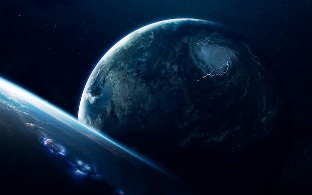 Planetas incrivelmente bonitos, galáxias, beleza escura e fria de universo sem fim