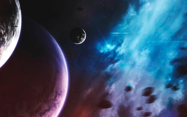Planetas inexplorados de espaço distante. imagem do espaço profundo, fantasia de ficção científica em alta resolução ideal para papel de parede e impressão. elementos desta imagem fornecidos pela nasa