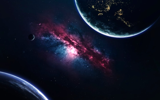 Planetas inexplorados de espaço distante.