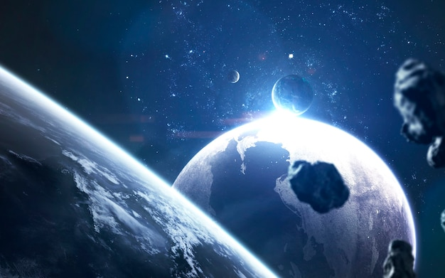 Planetas no espaço profundo, papel de parede de ficção científica de supernova, nascimento de estrela. elementos desta imagem fornecidos pela nasa