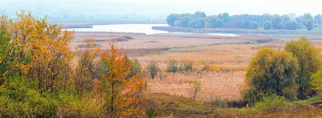 Planície ampla com árvores coloridas de outono em primeiro plano, floresta e rio à distância, panorama