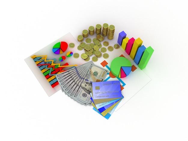 Planilha e um papel com gráficos estatísticos, cercados por alguns gráficos 3d