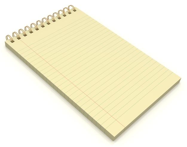 Plano aproximado de bloco de notas amarelo isolado no fundo branco