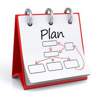 Plano. calendário isolado de renderização 3d com organograma