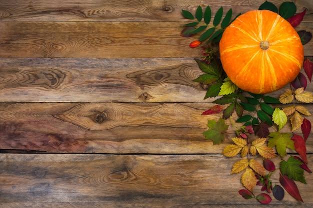 Plano de ação de graças feliz com abóbora e folhas de outono no lado esquerdo da mesa de madeira rústica. decoração de outono com vegetais sazonais, copie o espaço