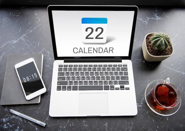 Plano de agendamento de agenda de compromissos do calendário