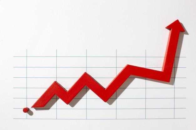 Plano de apresentação de estatísticas com seta