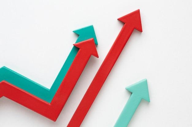 Plano de apresentação de estatísticas com setas