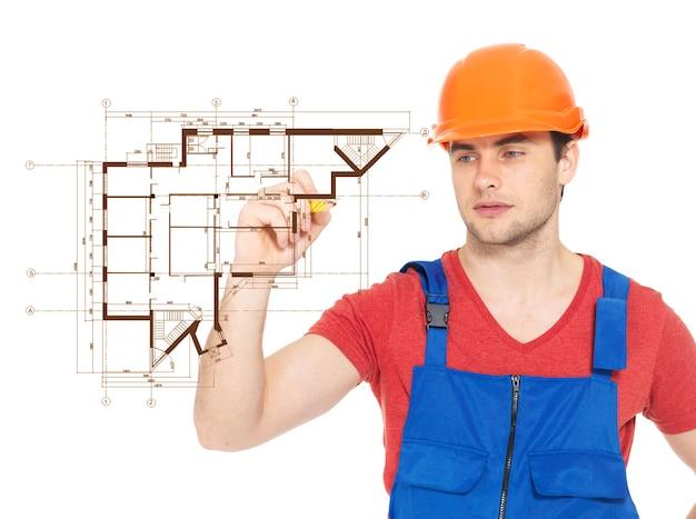 Plano de desenho de trabalhador manual profissional com marcador