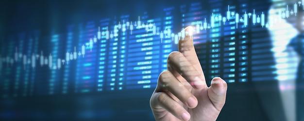 Plano de empresário gráfico de crescimento e aumento de indicadores positivos de gráfico em seu negócio