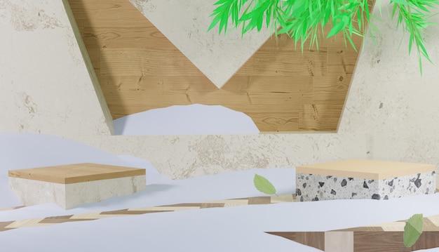 Plano de fundo 3d com tema de pódio de mármore e neve de inverno