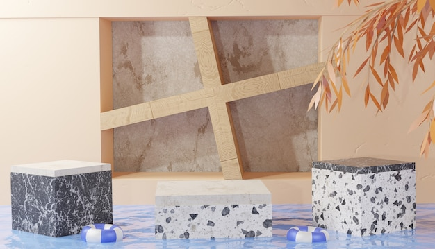 Plano de fundo 3d mostrando cubo de pódio de mármore com folhas no meio de águas claras