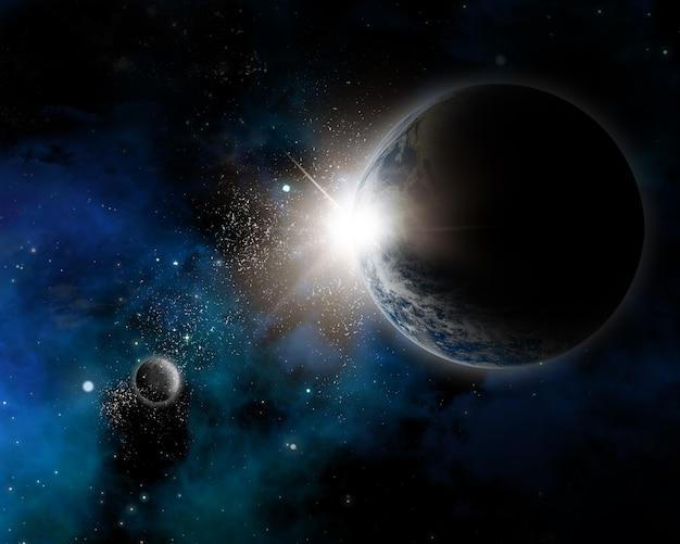 Plano de fundo com tema espacial com terra, nebulosa e estrelas