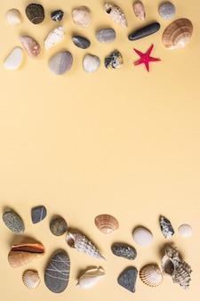 Plano de fundo com uma coleção de pedras de conchas e estrelas do mar