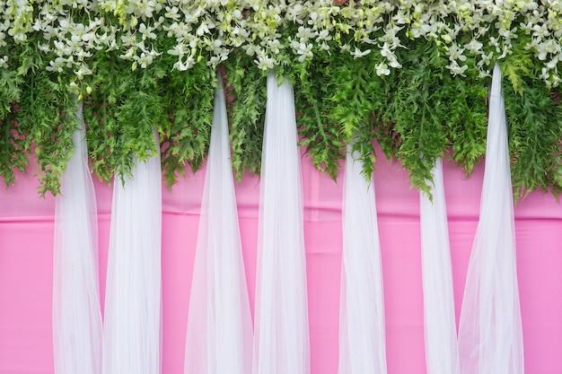 Plano de fundo da bela decoração de casamento de flores
