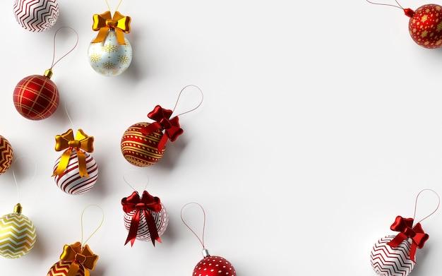 Plano de fundo da bola de natal em uma renderização 3d de fundo branco