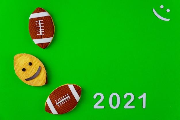 Plano de fundo da temporada de jogos de futebol para 2021. conceito de esporte americano.