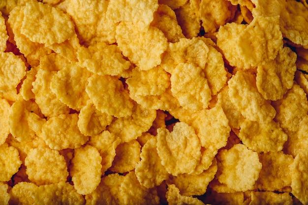 Plano de fundo da vista de flocos de milho de cima