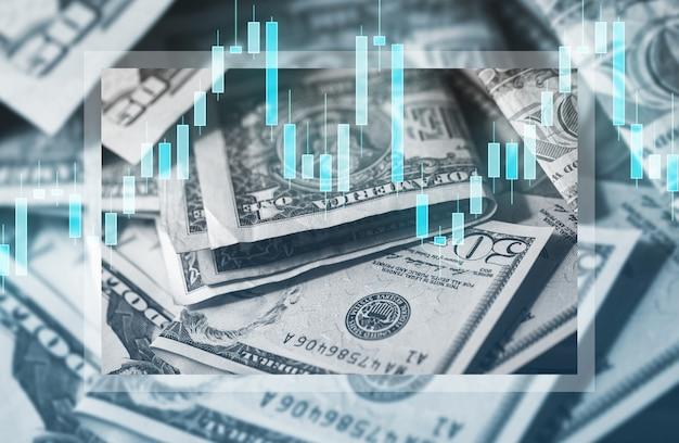 Plano de fundo das notas de dólar americano e gráfico de velas mostrando as mudanças no preço do dinheiro.