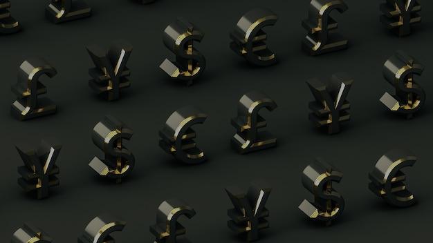 Plano de fundo das principais moedas em preto