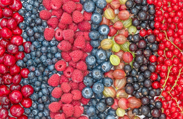 Plano de fundo de diferentes frutas vermelhas