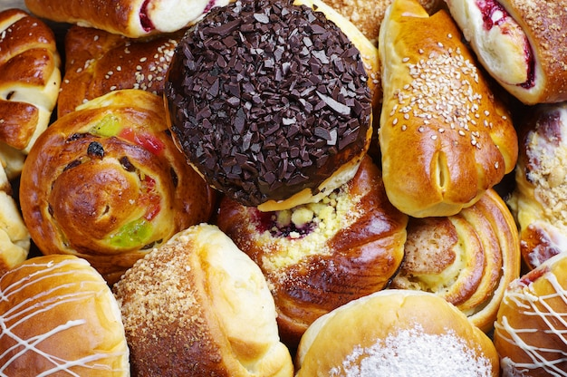 Plano de fundo de diferentes pães doces