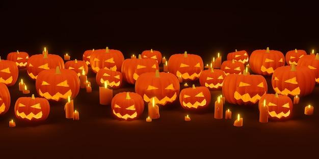 Plano de fundo de halloween ilustração 3d de abóbora e luz de velas do diabo