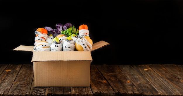 Plano de fundo de halloween vegetais assustadores com olhos em bandagens médicas em uma caixa