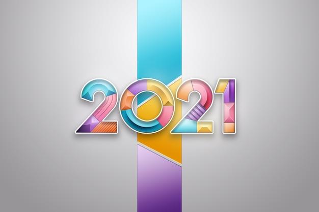 Plano de fundo de natal, inscrição 2021 com números multicoloridos sobre um fundo claro.