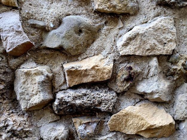 Plano de fundo de parede de concreto cinza com pedras grandes